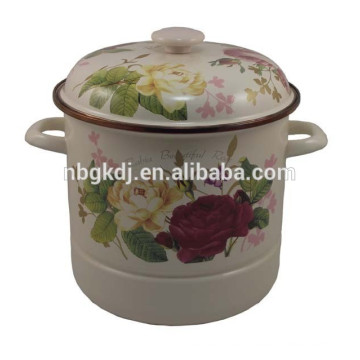 High quality enamel steamer with two grids(Ss and plastic )