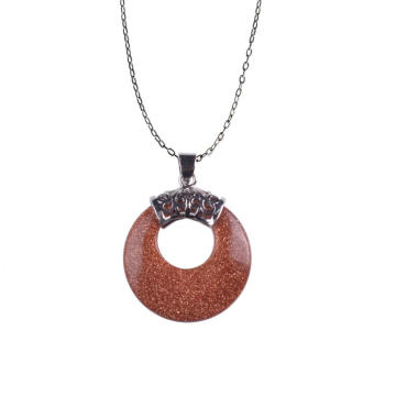 New Jewelry Fashion Silver Plated Round Goldstone Necklace Pendant