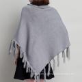 Womens Cardigan Wraps Kaninchenfell Winter gestrickte Kabel Fransen Schals Pullover Poncho (SP615)
