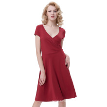 Belle Poque Women Casual Wine Red Cap Sleeve V-Neck High Stretchy A-Line Dress BP000314-2