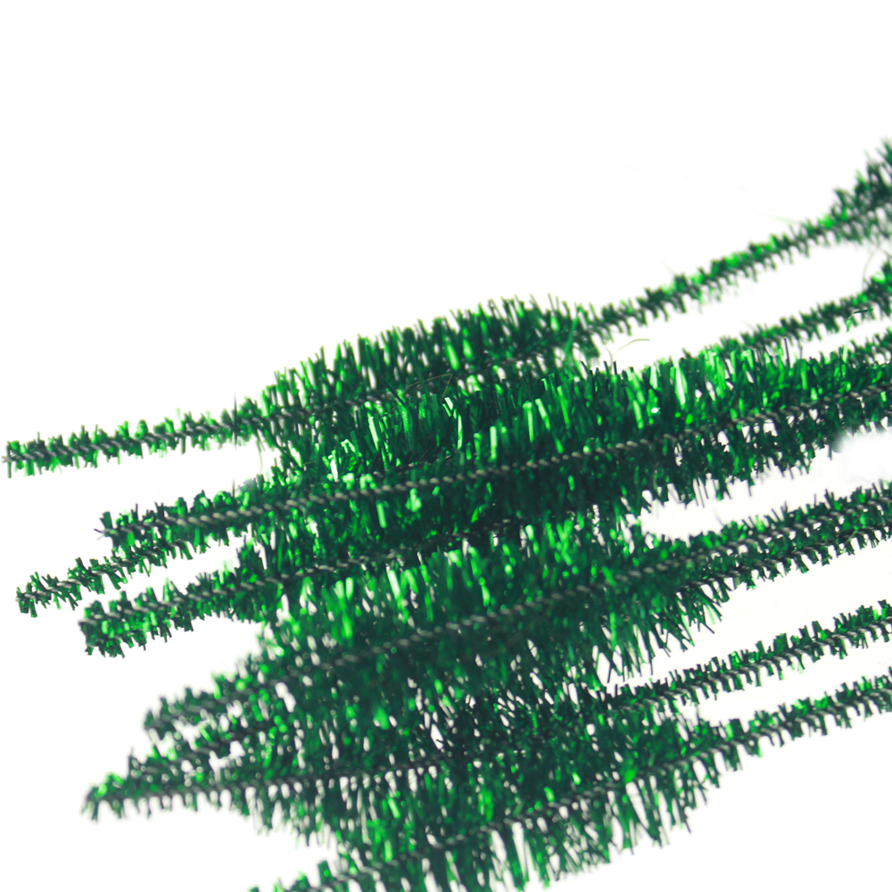 Bumpy tinsel chenille green decoration
