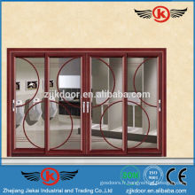 JK-AW9118 Porte coulissante vitrée en aluminium décoratif haut de gamme