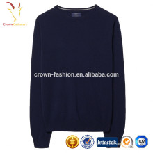 Men crew neck plain knitted cashmere jumpers