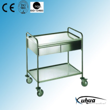 Two Drawers Stainless Steel Hospital Medical Treatment Trolley (Q-10)