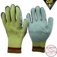 Luvas de faca NMSAFETY fibras de aramida cortadas luvas de couro de resistência nível de corte cosido 5