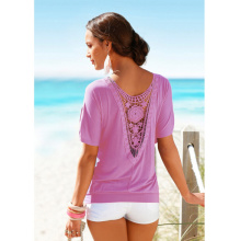 Cotton Hollow Back T-Shirt after summer wear of splicing empty lace round collar easy to add the sleeve T-shirt top 9936 S-XXXL