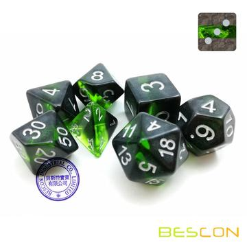 Bescon Mineral Rocks GEM VINES Polyédrale D & D Dice Ensemble de 7, RPG Role Playing Game Dice 7pcs Ensemble de EMERALD
