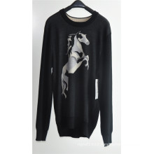 Men Round Neck Patterned Knitted Pullover Sweaters