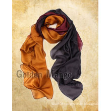100%SIlk Chifon Long fashion Two-tone scarf