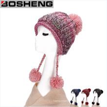 Chapeau de mode en crochet en paille sans fente pour femmes sans soucoupe avec boules POM