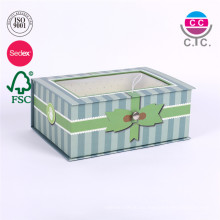 caja de regalo de cartón verde de alta calidad con ventana transparente