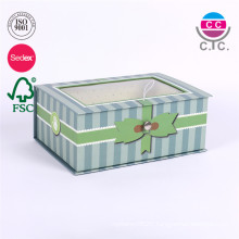 high quality cardboard green paper gift box with clear window