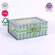 высокое качество коробка подарка картона зеленой бумаги с прозрачным окном