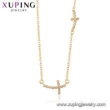 44516 Großhandel Mode 18 Karat Gold Farbe Religion Doppelkreuz Halskette mit Stein für Frauen