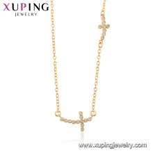 44516 gros mode 18 k couleur or religion double croix collier avec de la pierre pour les femmes