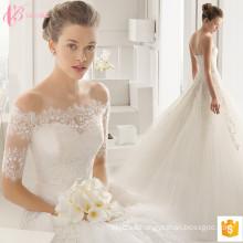 2017 Vestido nupcial magnífico de los vestidos de boda de Bling del cordón Appliqued para la venta