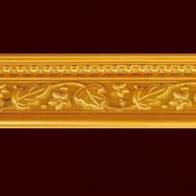 W13cm Golden PS Leaf Shape Mouldings Cornice Building Material