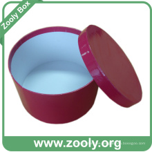 Caja de regalo de papel redonda con tapa / rojo cuadro de sombrero impreso (zh003)