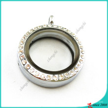 Round 25mm Rhinestone Floating Locket Jewelry (FL16041939)