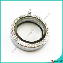 Rodada de 25mm strass jóias medalhão flutuante (fl16041939)