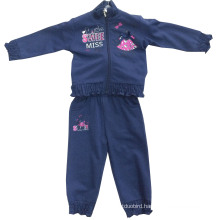 China Factory OEM Sports Wear Fleece Design Children Hoody in Girl Fleece Sport Suits Swg-104
