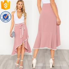 Contraste vinculação self tie assimétrica plissado saia manufatura atacado moda feminina vestuário (td3099s)