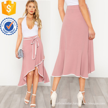 Contrast Binding Self Tie Asymmetric Ruffle SkirtManufacture Wholesale Fashion Women Apparel (TA3099S)