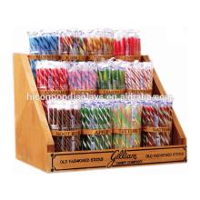 Fabricante de suprimentos Loja de supermercado Loja de revistas de madeira 12 Jar Stick Candy Display Unit