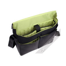 Mens Black / Green Fashion Micro Fiber Leather Mens Laptop Messenger Bag, 17 Inch