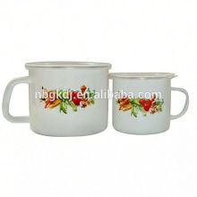 White Promotional gift custom enamel milk mug