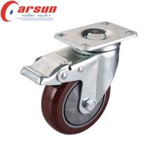 5 дюймов средний долг вращая Рицинус PU колеса с общей тормозной
