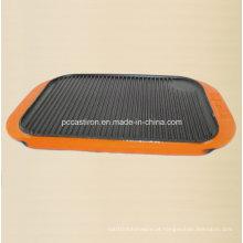 Placa de grelhador de ferro fundido FDA com alça de esmalte