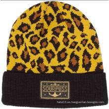 Sombrero de gorrita tejida de la impresión del leopardo (XT-B042)