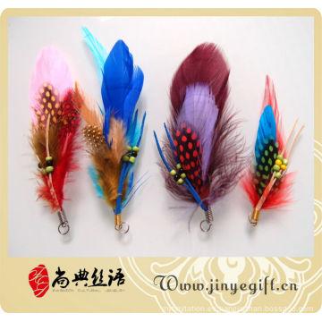 Llavero del encanto del bolso de la pluma de la perla de la moda