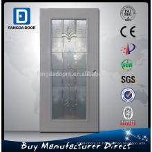 Fangda 32-in full light moldura de madeira espuma de poliuretano injetado decorativa inswing aço porta interior com vidro