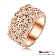 Anéis de noivado do chapeamento de ouro de luxo 18k Rosa (Ri-HQ0062)