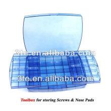 Caja de herramientas de plástico, caja de accesorios de gafas