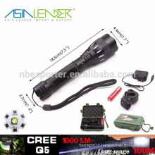 Q5 /5W-1200 Lumens, High Power LED Flashlight with 18650 Battery Gift Box Packaged