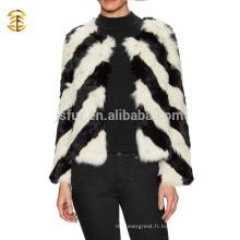 Nouvelle mode d'hiver, noir et blanc, vrai, lapin, fourrure, manteau, filles, femmes