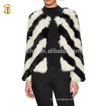 New Winter Fashion Black And White Real Rabbit Fur Coat Girls and Women