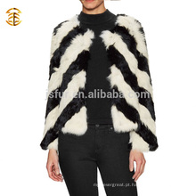 New Winter Fashion Black And White Real Rabbit Fur Coat Meninas e Mulheres
