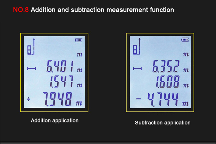 Add and subtract function laser distance meter