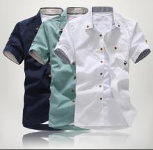 無料配送 2015年メンズ ストライプ トリム スタイル半袖シャツ