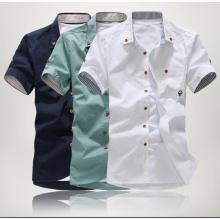 Gratis Versand 2015 Streifen trim Stil Kurzarm Herrenhemd