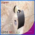 Suporte cerâmico do rolo do papel higiénico do banheiro do preto da base de Fyeer