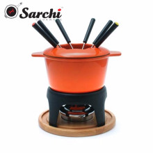 Cast Iron Fondue Set With Color Enamel Coating