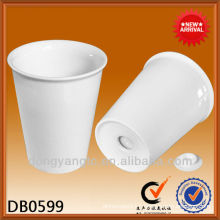 Customized logo insulate hot double wall ceramic coffee mug with lid