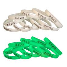 Glow in dark Silicone Wristband,Glowing bracelet in stock
