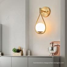 Modern luxury copper wall lamp light creative glass wall scones