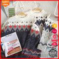 Pullover Farbe Block Raglan Hülse Weihnachten Mode Paar Pullover Pullover
